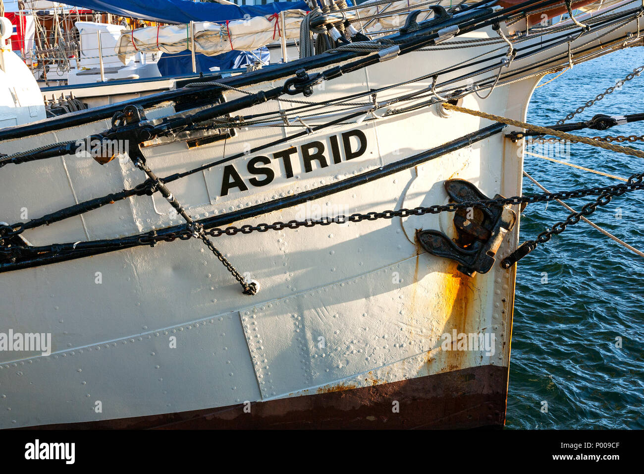 Tall Ships Race 2008. Bergen, Norway - August 2008 Bow of the Dutch  'Astrid' (square rigged brig). - Stock Image