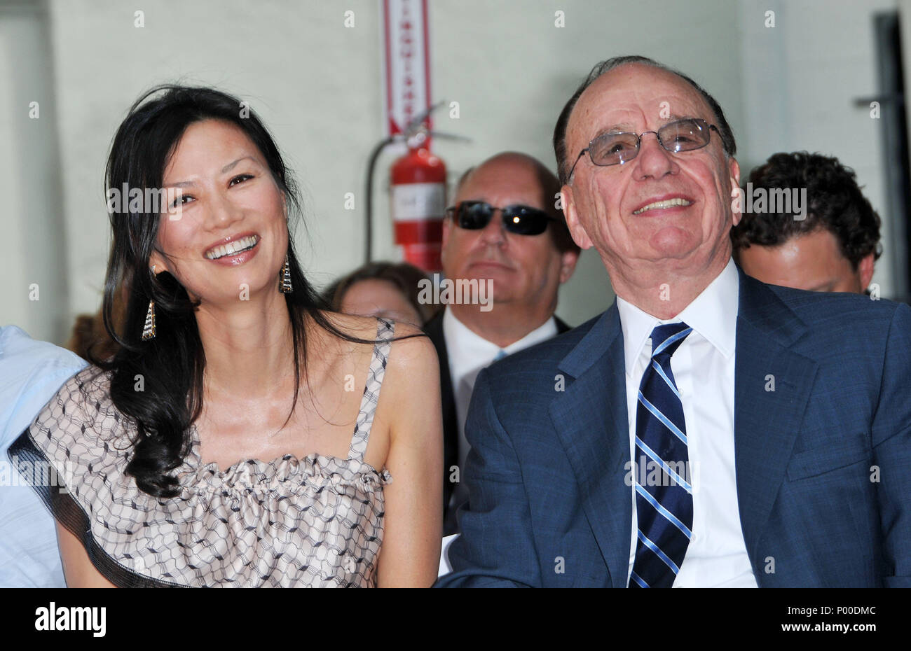 Rupert Murdoch  with wife Wendi Deng Murdoch -  Hugh Jackman Honored with hand and footprint at the Chinese Theatre in Los Angeles.MurdochRupert_Wendi Deng Murdoch_42  Event in Hollywood Life - California, Red Carpet Event, USA, Film Industry, Celebrities, Photography, Bestof, Arts Culture and Entertainment, Celebrities fashion, Best of, Hollywood Life, Event in Hollywood Life - California, Red Carpet and backstage, Music celebrities, Topix, Couple, family ( husband and wife ) and kids- Children, brothers and sisters inquiry tsuni@Gamma-USA.com, Credit Tsuni / USA, 2006 to 2009 - Stock Image