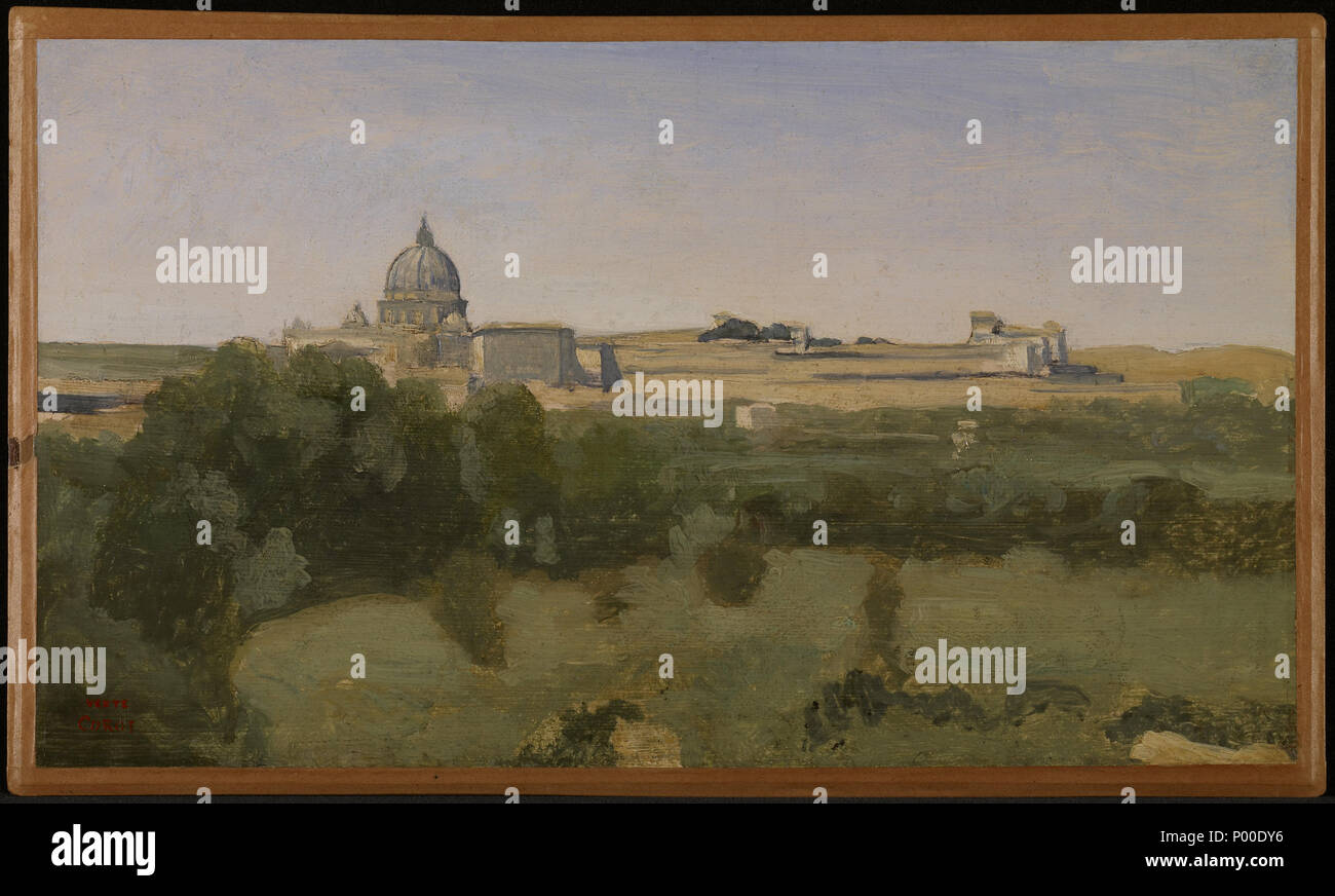 .  English: View of Rome from Monte Pincio . 1826 54 Jean-Baptiste-Camille Corot - View of Rome from Monte Pincio - 2014.113 - Minneapolis Institute of Arts - Stock Image