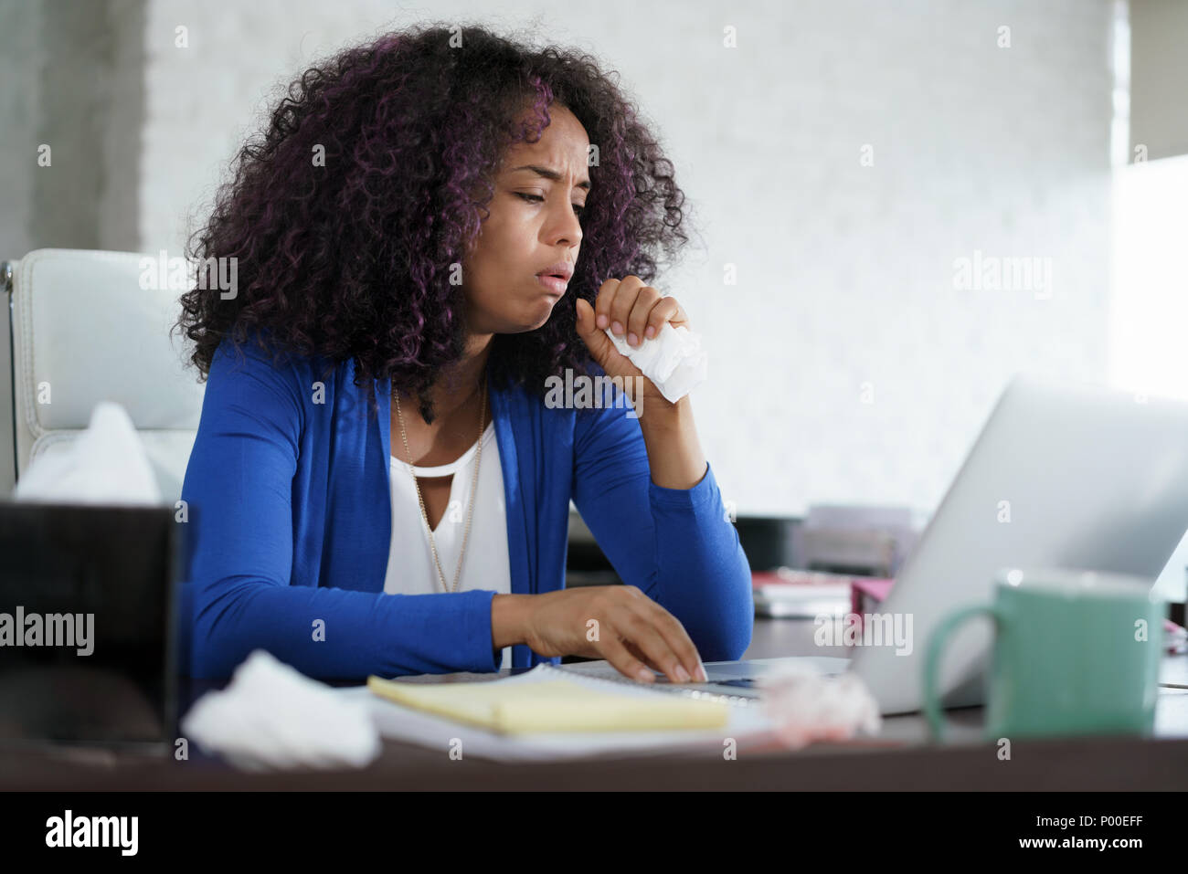 Sick African American Girl Working From Home Office. Ill