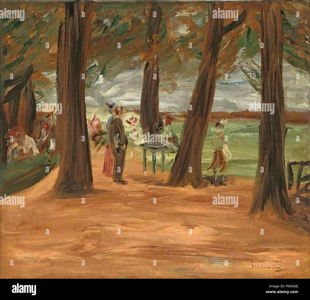 """. """"Biergarten - Restaurationsgarten"""". 1900. Öl auf Leinwand. Doubliert. 46 x 51 cm. Unten rechts signiert: M Liebermann.  . 1900 70 Max Liebermann Biergarten - Stock Image"""