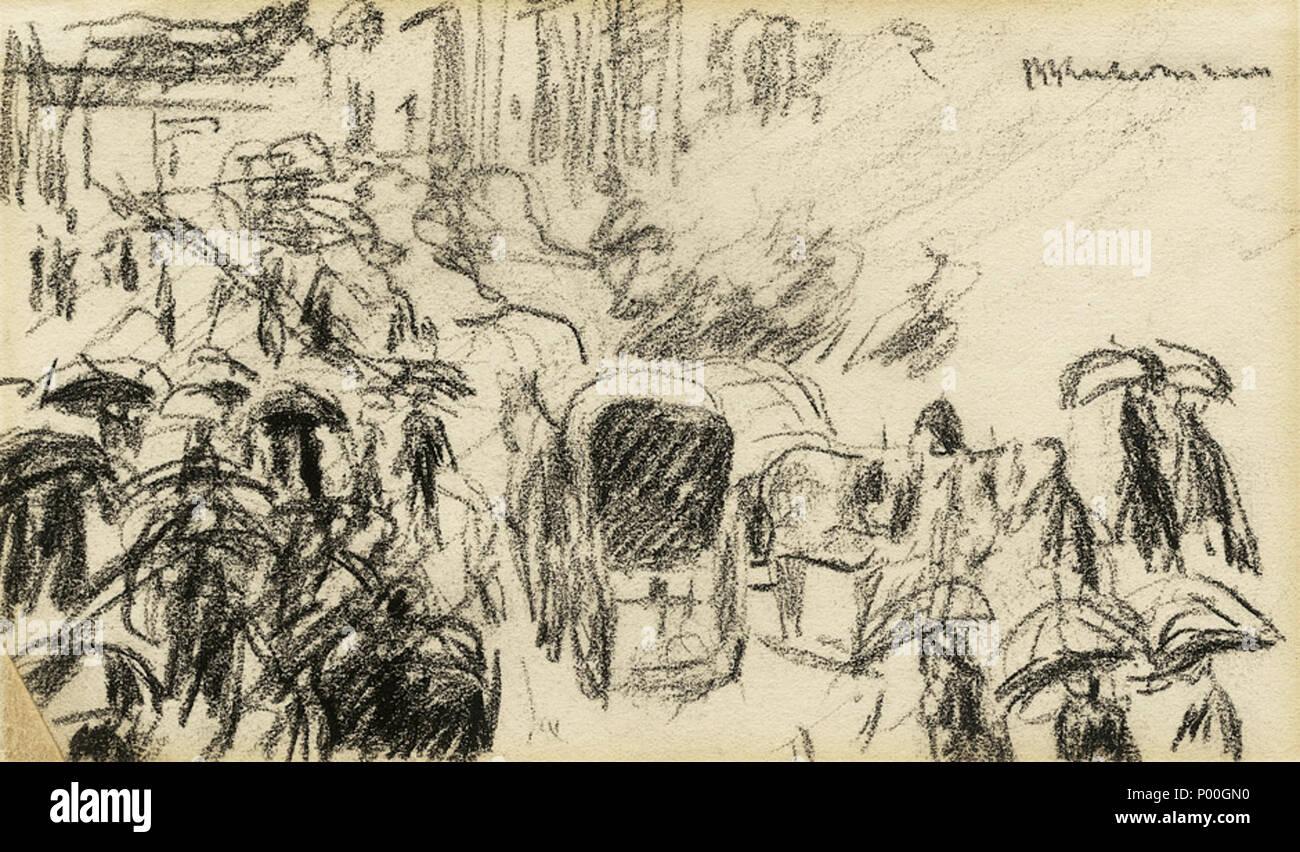 . Unter den Linden im Regen. Kohle auf Velin. 9,9 x 16,6 cm. Oben rechts signiert, verso in den unteren Ecken mit den Nummern ' 01/34/2' und 'E5467'. Wohl um 1930.  . circa 1930.   Max Liebermann (1847–1935)   Description German painter, etcher, lithographer and draughtsman  Date of birth/death 20 July 1847 8 February 1935  Location of birth/death Berlin Berlin  Work location Berlin (1863-1868, 1884-1935), Weimar (1868-1873), Düsseldorf (1871), Netherlands (1871), Paris (1872, 1873-1879, 1882, 1896), Amsterdam (1872, 1876, 1879, 1880, 1881, 1882, 1883, 1884, 1905, 1906, 1907, 1908) Barbiz - Stock Image