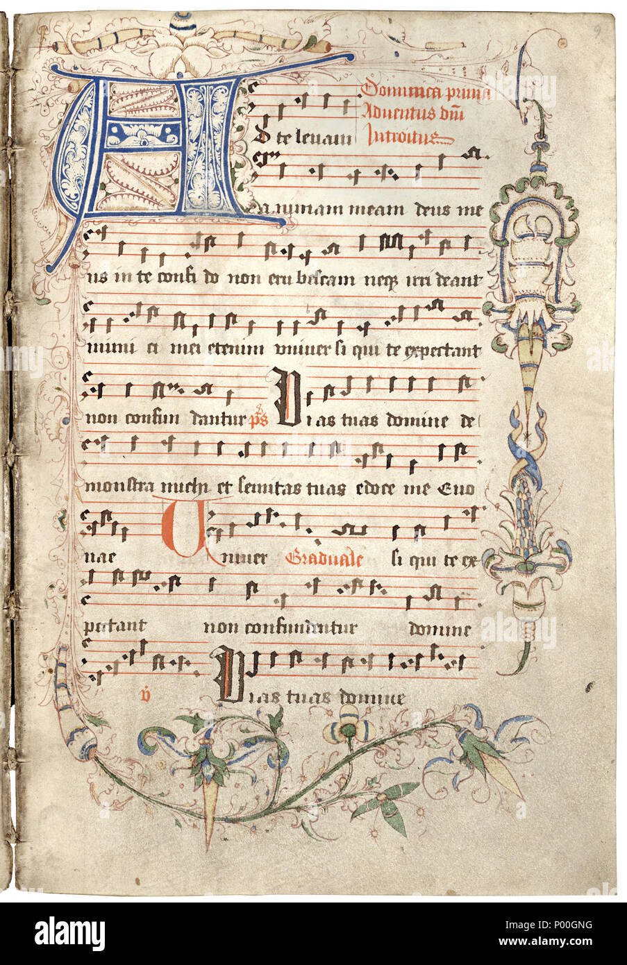 . English: Gradual, usus Liège, with music notation, 1530. According to a note inside the front coverplate, it was written in the Dominican Monastery St. Paul in Maastricht, for St. Alban's Church in Vlijtingen. Now in the Koninklijke Bibliotheek, The Hague, the Netherlands (KB ms. 71 A 3).  . 25 June 2008, 17:51:58. Unknown scribe from Maastricht, ca 1530 10 Graduale van Dominicanenklooster Maastricht, 1530 (KB 71 A 3) - Stock Image