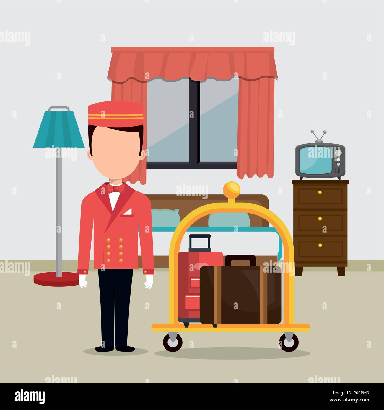 bellboy working in the hotel character - Stock Image
