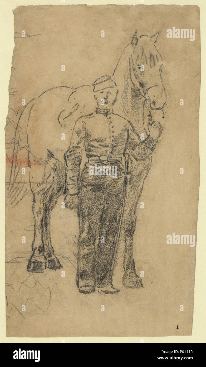 English Title A Soldier Leading A Horse Abstract Medium 1 Drawing On Tan Paper Pencil 18 0