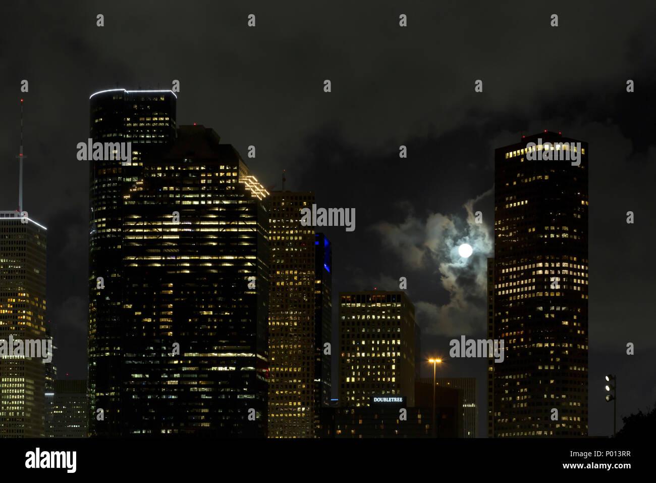 Houston downtown skylines supermoon - Stock Image