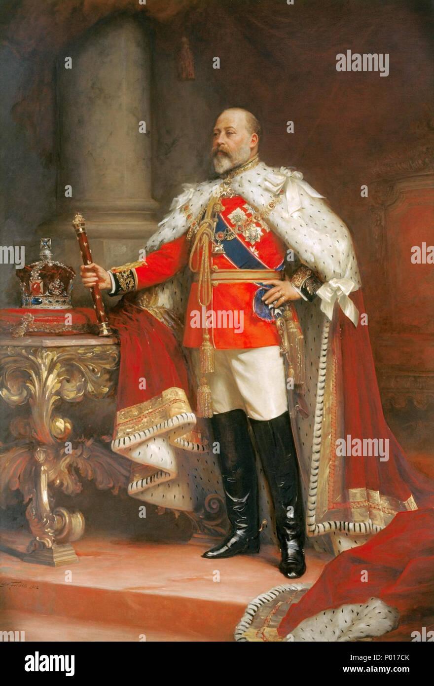 .  English: Portrait of King Edward VII  . King Edward VII (1841-1910) . 1912 3 Edward VII - Fildes 1912 - Stock Image