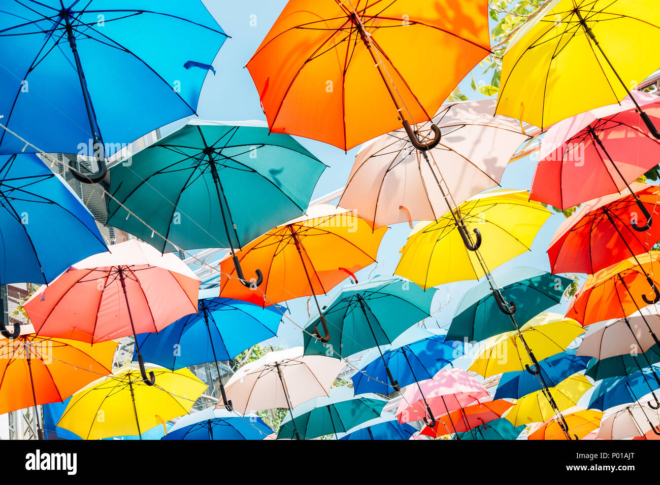 Colorful umbrella background in Taichung, Taiwan - Stock Image