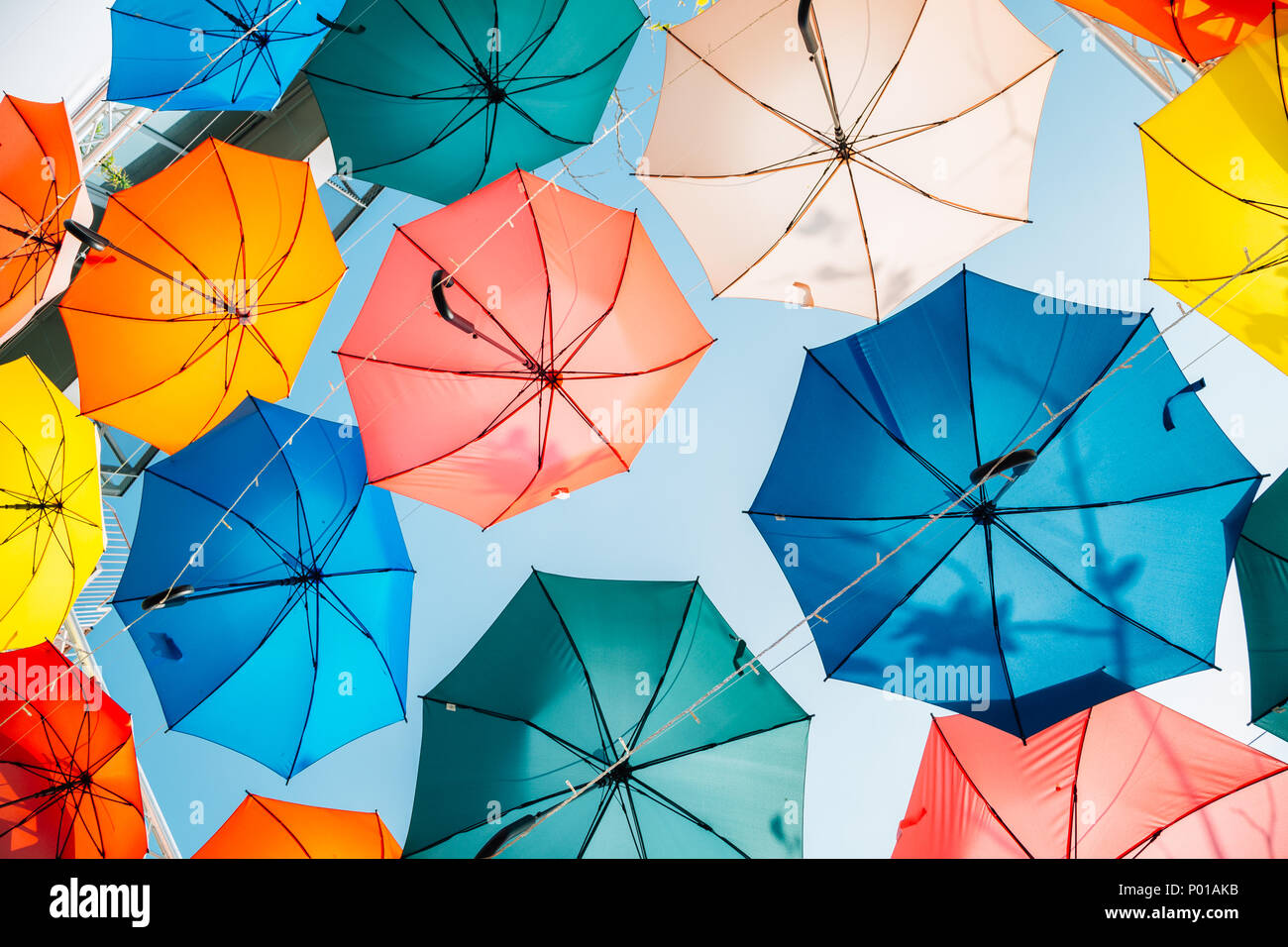 Colorful umbrella background in Taichung, Taiwan Stock Photo