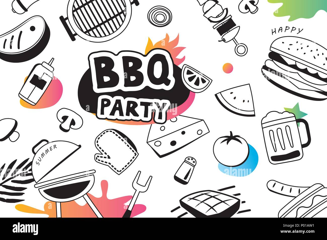Summer BBQ doodles symbol and objects icon for party background ...