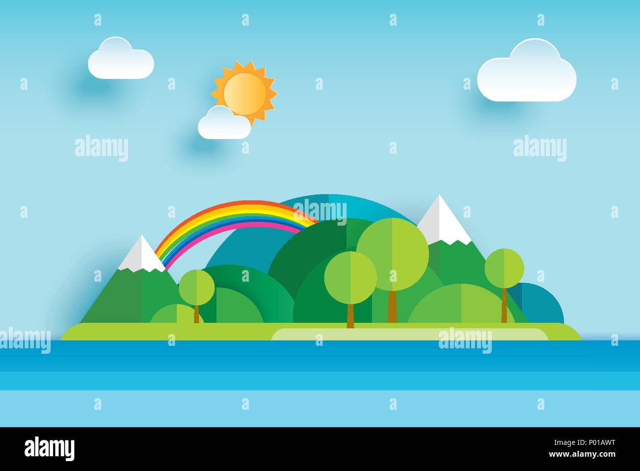 Island and sea in summer origami paper art background. Seascape with mountain and sky. - Stock Image