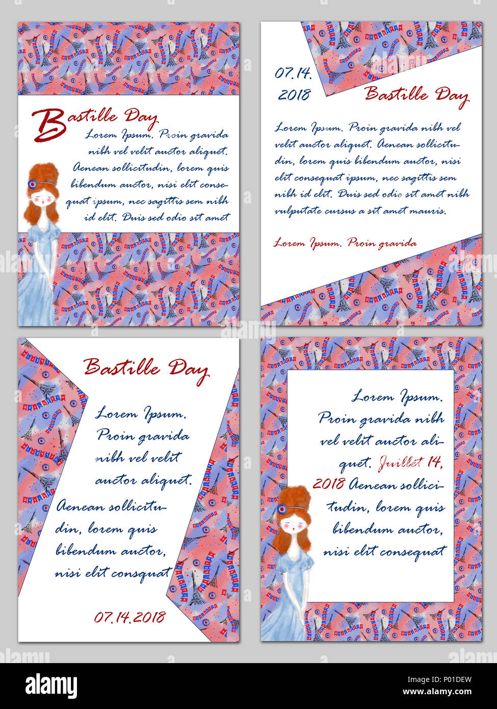 Set Of Bastille Day Templates With Eiffel Tower Pattern And Patriotic Mademoiselle Four For France National Holiday Celebration