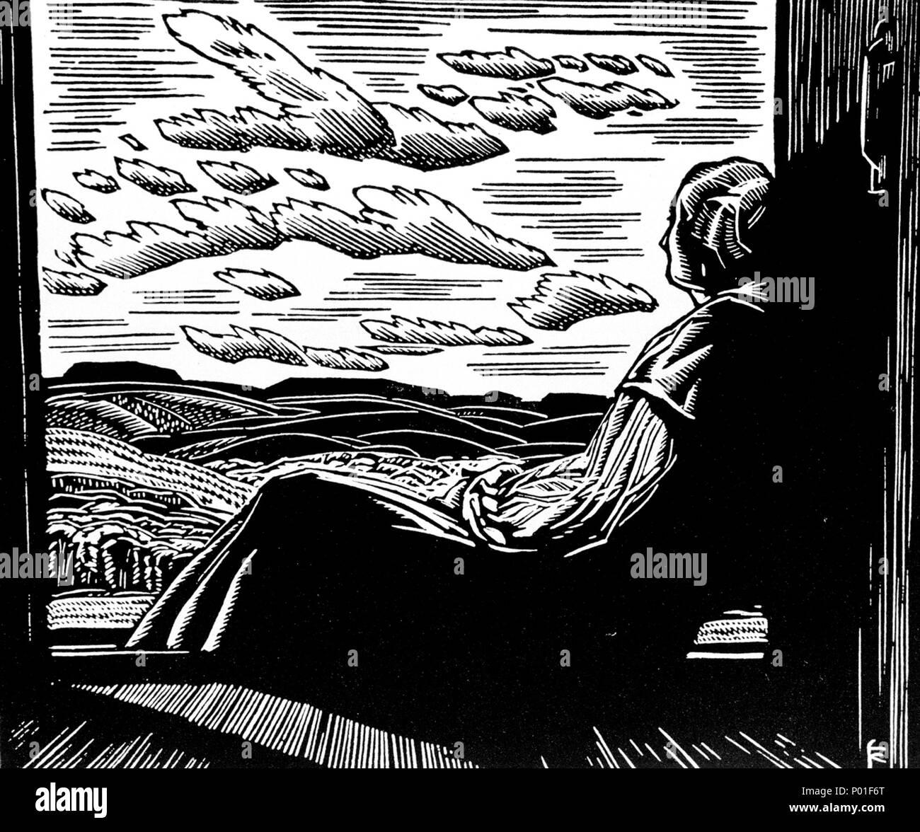. English: Franklin Carmichael, untitled, 1944, wood engraving on paper, 12 x 15.2 cm  . 1944. Franklin Carmichael 1 Franklin Carmichael - Wood Engraving Stock Photo