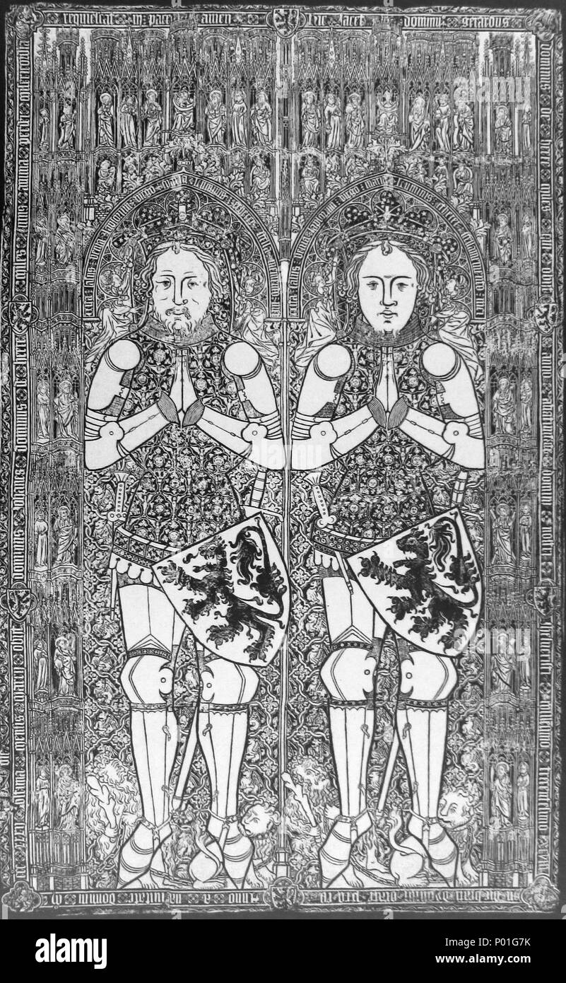 . English: Engraving of a brass graveplate depicting John († 1332) and Gerard of Heers († 1398). The richly decorated plates were probably assembled after 1398. They were removed from the parish church of Heers (Belgium, province of Limburg) around 1840 and were acquired by the Royal Museums of Art and History in Brussels in 1861. Engraving from: William Frederick Creeny, A book of fac-similes of monumental brasses on the continent of Europe. Norwich: A. H. Goose and co (1884).  . 30 October 2009, 19:05:40. William Frederick Creeny (1884) 6 Brussel, KMKG, grafplaat Jan en Gerard van Heers (14e - Stock Image