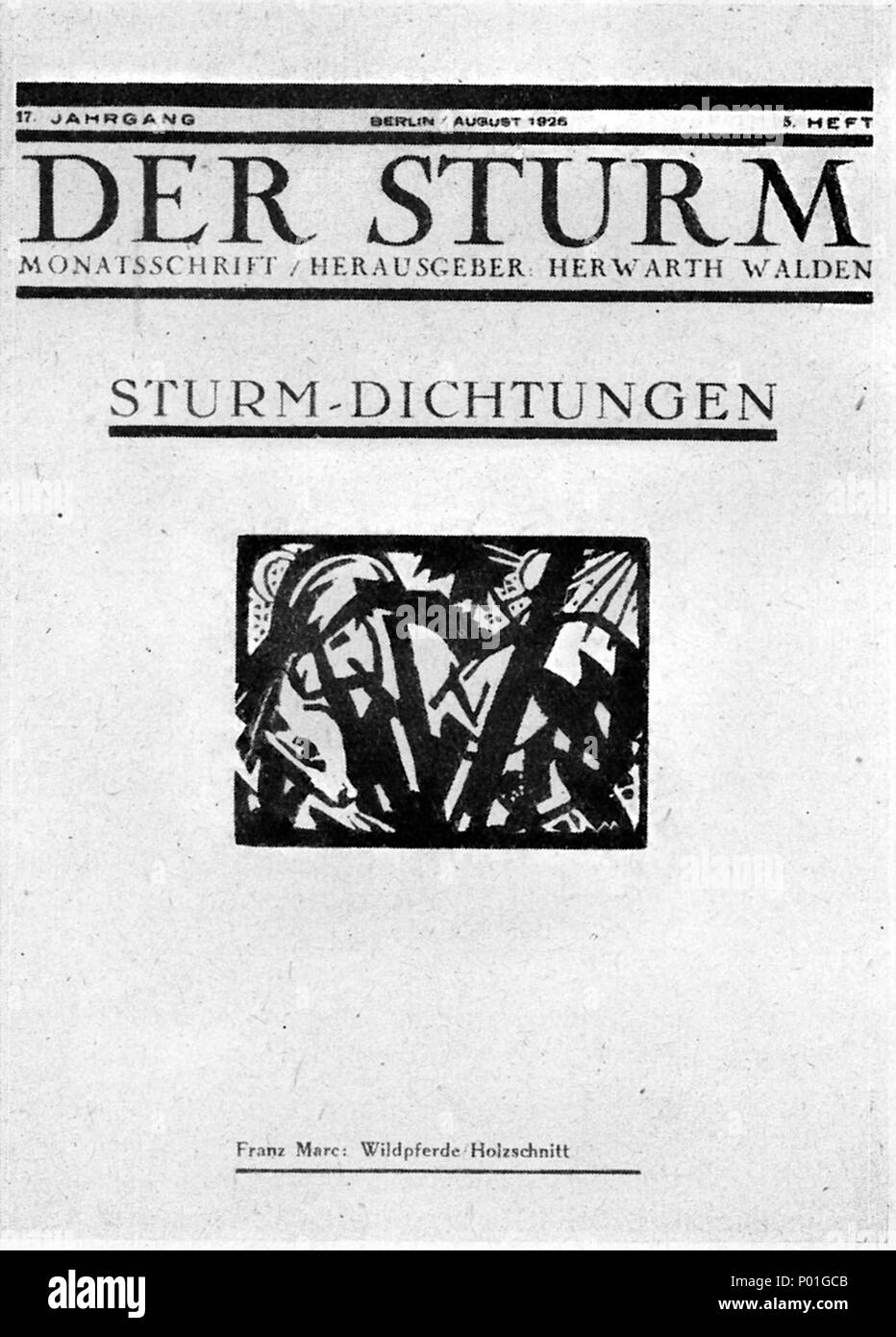 . Deutsch: Titelblatt Monatsschrift Der Sturm. Čeština: Titulní strana měsíčníku Der Sturm.  . August 1926. graphic (Holzschnitt):   Franz Marc  (1880–1916)       Alternative names Franz Moriz Wilhelm Marc; Franz Moritz Wilhelm Marc; Marc  Description German painter and sculptor  Date of birth/death 8 February 1880 4 March 1916  Location of birth/death Munich Verdun  Work location Munich (1903), Paris (1903. 1907), Sindelsdorf, Oberbayern (1910), Paris (1912–1914)  Authority control  : Q44054 VIAF:?44310294 ISNI:?0000 0001 0857 0049 ULAN:?500010681 LCCN:?n80007960 NLA:?35327166 WorldCat 8 Wald Stock Photo