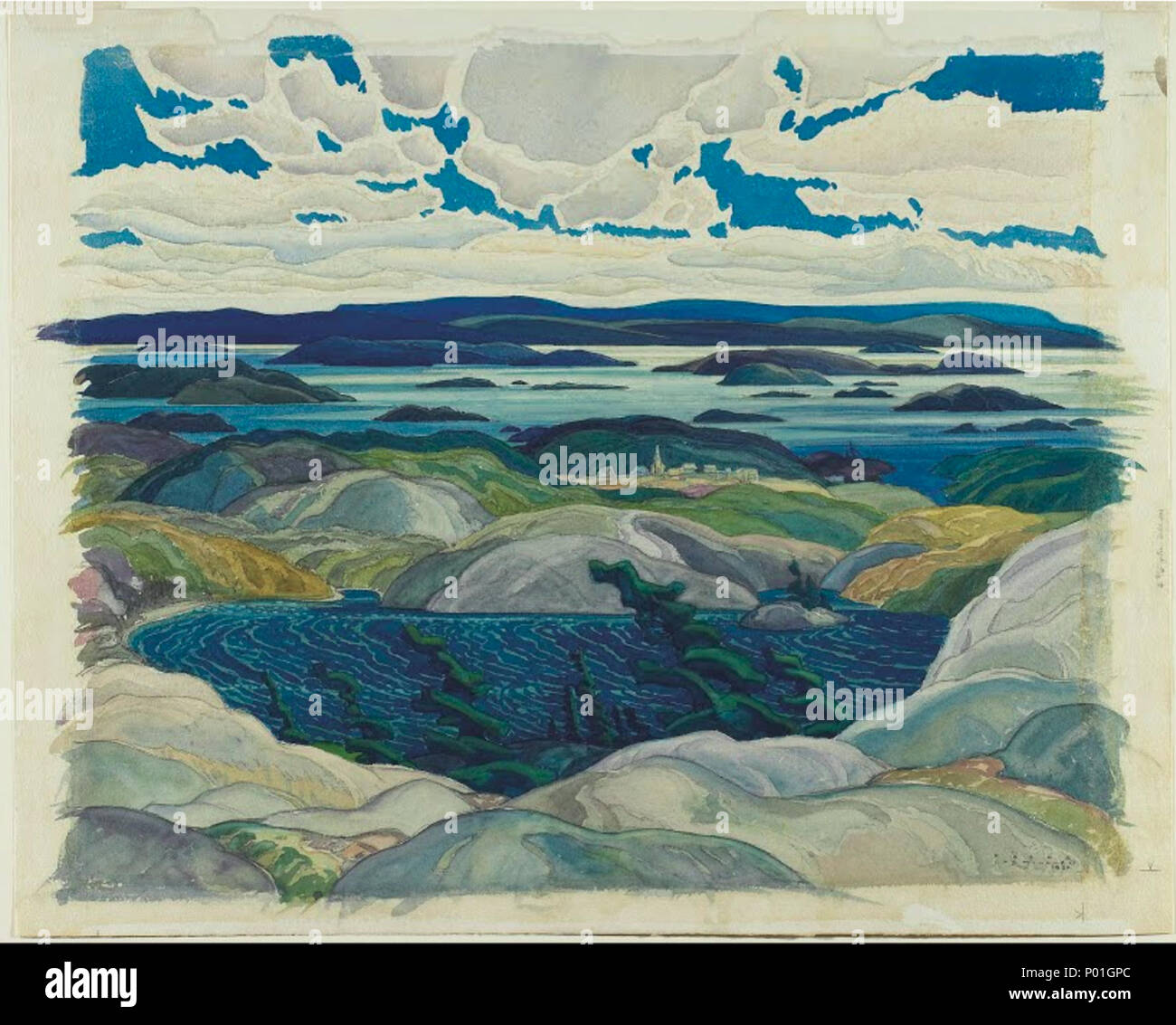 . English: Franklin Carmichael, Bay of Islands, 1930, watercolour on paper, 51.3 x 64.4 cm 1 Franklin Carmichael - Bay of Islands Stock Photo