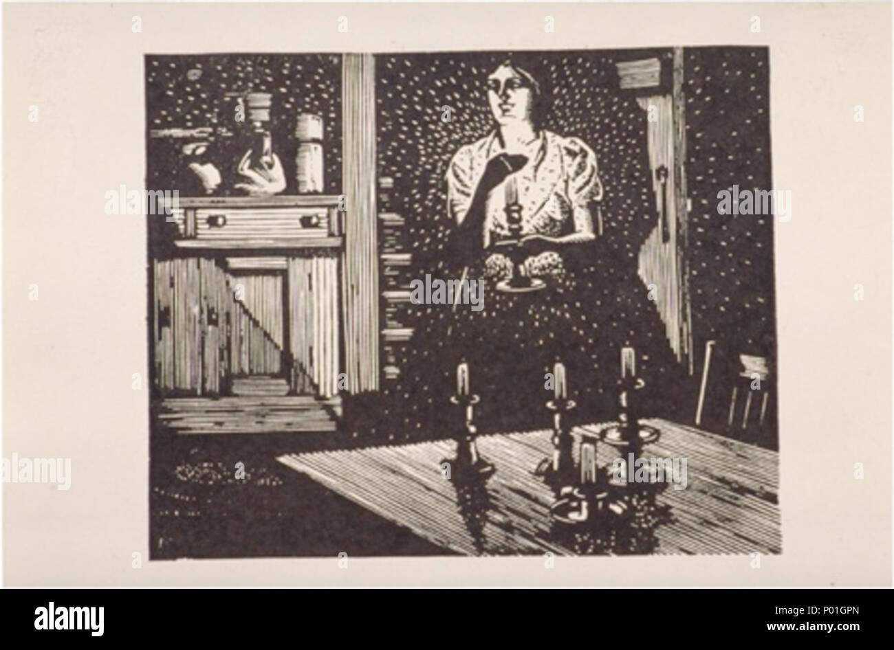 . English: Franklin Carmichael, Untitled, c. 1944, wood engraving, 8 x 9.7 cm  . 1944. Franklin Carmichael 1 Franklin Carmichael, Untitled wood Stock Photo