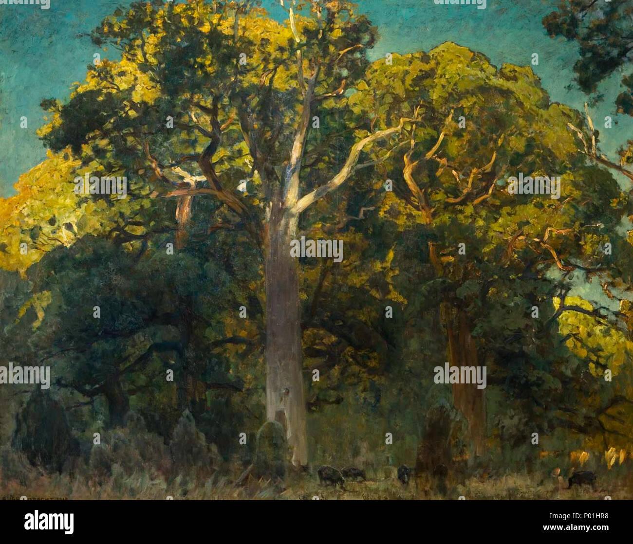 . 'Eichenwald',Öl auf Leinwand, signiert, datiert: 1919, 110 x 138 cm  . 1919 31 Eugen Bracht Eichenwald - Stock Image