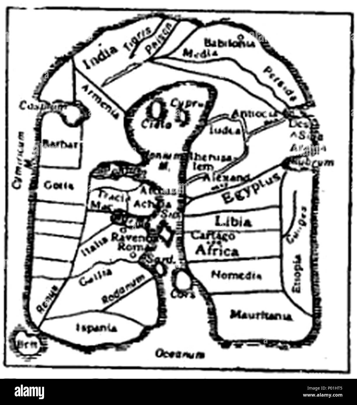 . English: Caption: 'Fig. 7.—Map of Albi (8th century).' From a codex in the Library of the archdiocese of Albi, department of Tarn, with its placenames derived largely from Paulus Orosius's Historiae adversum paganos (418). Used by the EB to demonstrate the loss of geographical knowledge during the Dark Ages. 8 EB 1911 Map Fig 7 - Stock Image
