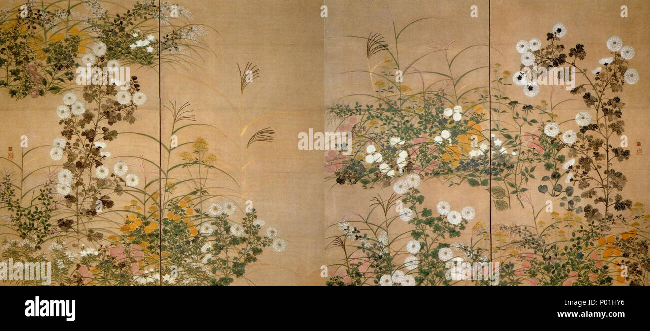 . English: Flowering Plants in Autumn by Ogata Kōrin (Suntory Museum of Art)  . 18th century. Ogata K?rin (1658-1716) 9 Flowering Plants in Autumn - Stock Image