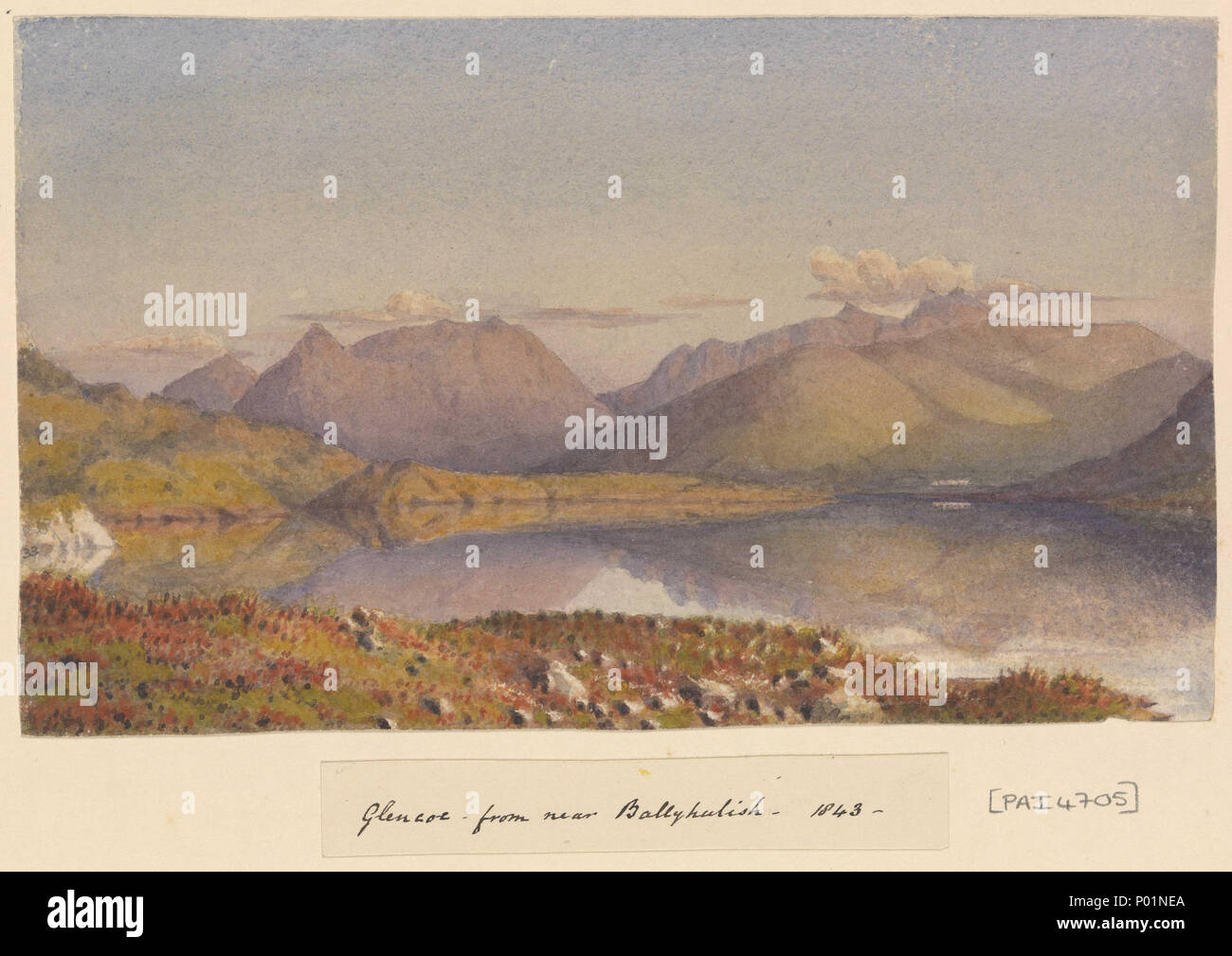 .  English: 'Glencoe from near Ballyhulish, 1843' [Scotland] No. 33 in Fanshawe's Baltic and later album, 1843 - 83. Captioned by the artist on the album page below the image, as title. The view is presumably eastwards along Loch Leven with Glencoe in the right distance (by the white scraped highlight). If so this suggests Fanshawe is looking across the loch from some point east of North Ballachulish rather than from Ballachulish itself , which is on the south side and (though closer to the Glen) probably does not afford this view. Glencoe is a notorious site, as in 1692, there was the premedi - Stock Image