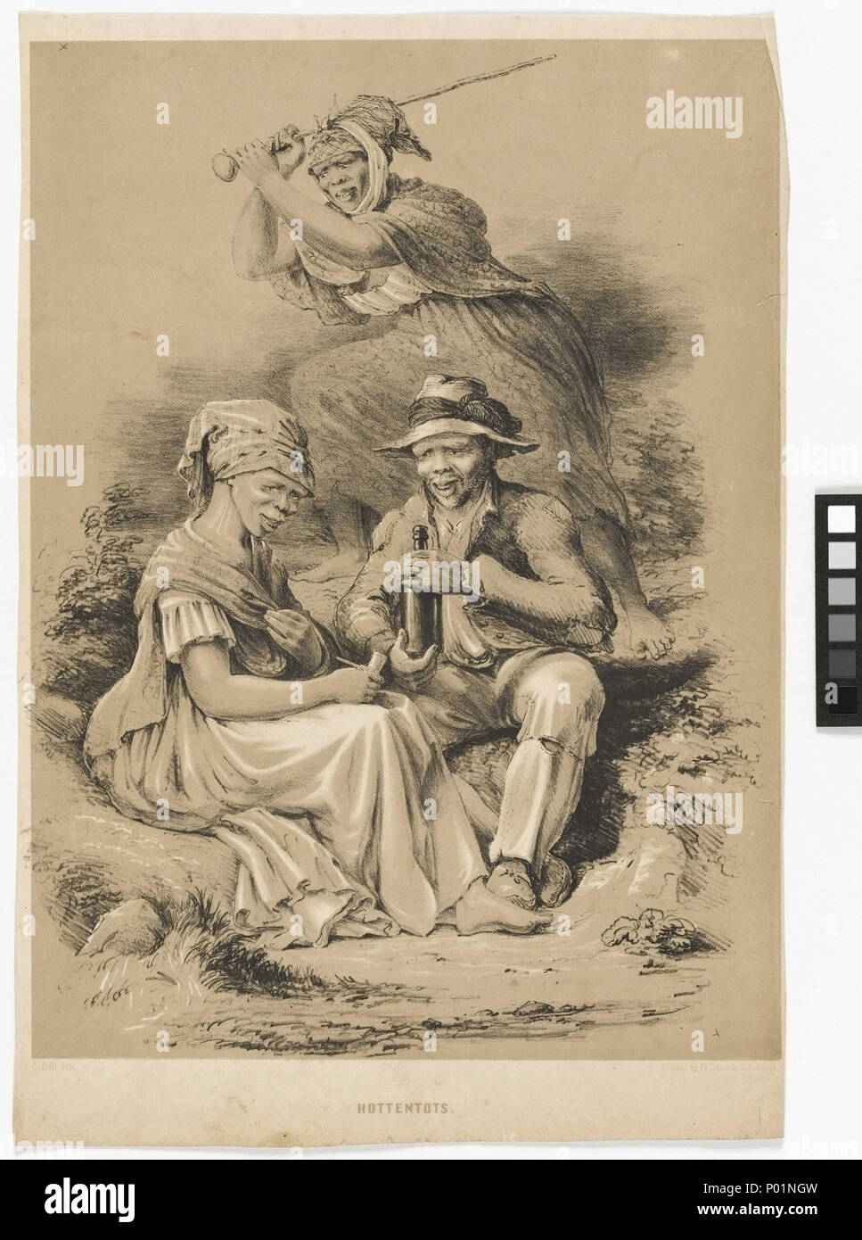.  English: 'Hottentots' Print depicting a group of 'Hottentots' or Khoikhoi by Charles Davidson Bell. It ilustrated Bell's fears regarding the potential dangers of unguided western imperialism. The man is drinking, the woman has cigarettes, while the woman behind brandishes a blunt instrument. All are dressed in Western clothes. Charles Davidson Bell sketched a number of ethnographic studies of the different non-European South Africans he found while living there, some not long after he arrived in 1830, others while on an expedition into the Interior with Dr Andrew Smith in 1834 and more stil - Stock Image