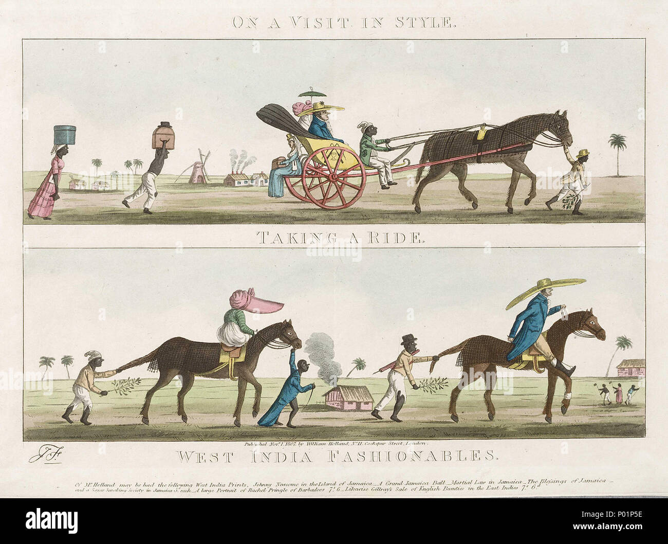 .  English: 'On a Visit in Style - Taking a Ride - West India Fashionables' Two vignettes inscribed 'Taking a Ride' and 'West India Fashionables', probably by James Sayers (1748-1823). This image satirizes a planter in the British Caribbean colonies. It illustrates his life of ease, and contrasts this with the heavy burdens being carried and menial tasks being done by enslaved people on the plantation. 'On a Visit in Style - Taking a Ride - West India Fashionables'  . 1 November 1807. J. S; William Holland 5 'On a Visit in Style - Taking a Ride - West India Fashionables' RMG E9119 - Stock Image