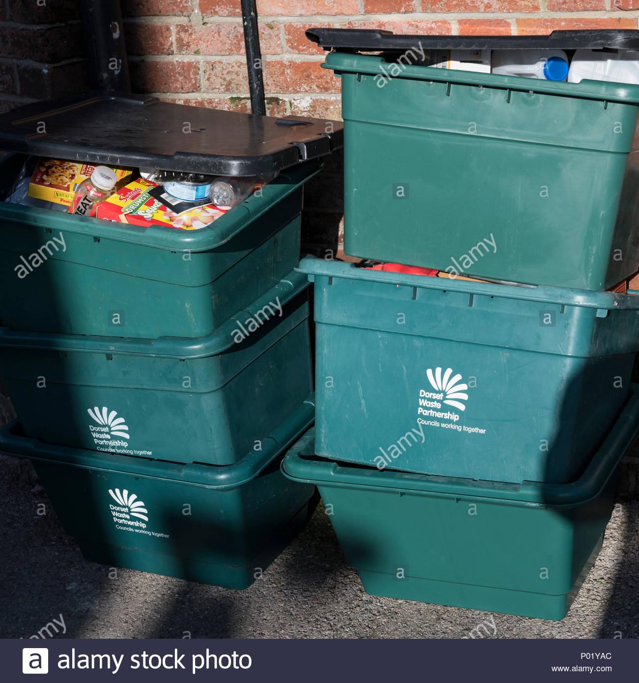 Recycling boxes, Blandford, Dorset, England, UK Stock Photo
