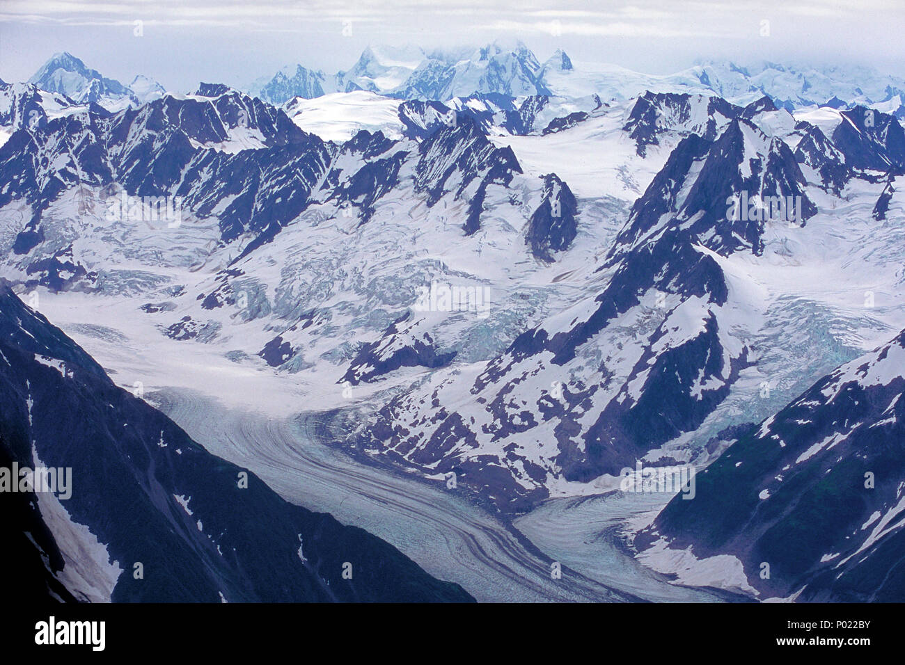 Glacier at Yukon, great landscapes, snow, ice, mountains, Alaska range, Yukon, Canada - Stock Image