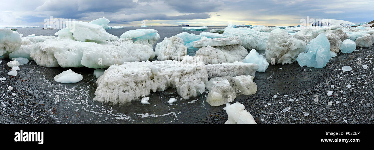 Blocks of ice at coast, Orkney Islands, Drake street, Antarctic peninsula, Antarctica - Stock Image