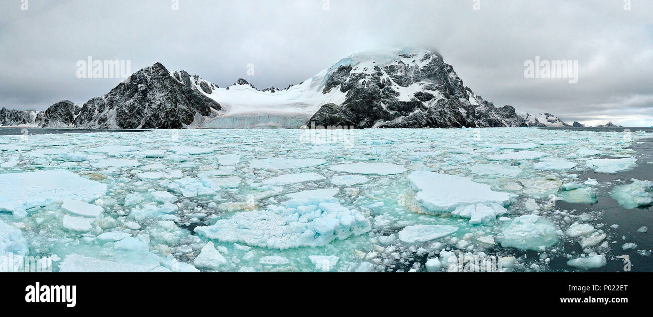 Drift ice and glaciers, rough landscape at Orkney Islands, Drake street, Antarctic peninsula, Antarctica - Stock Image