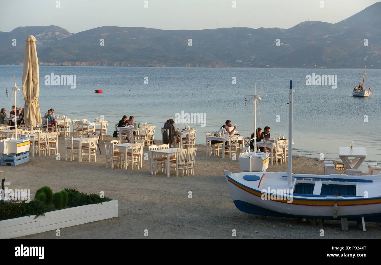 The restaurant at Klima Milos Greece - Stock Image