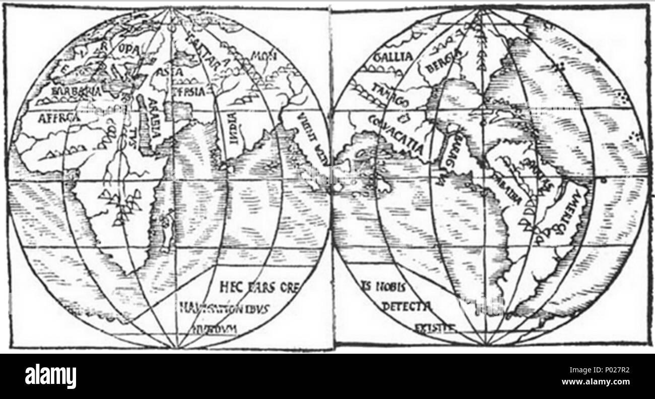 . English: A map of the world (c.1527) by Monachus showing two halves of the globe that he had constructed. For full descriptions of the globe see w:Franciscus Monachus. Placenames: evropa (Europe), tartara (Russia), mongalla (Mongolia), asia (Turkey), arabia, persia, india, alia india ('Other India'; Malaysia), bergia (Siberia/the American South), tamago (China/Texas), colvacatia? (Dragon's Head peninsula/), baragva (Dragon's Head peninsula/Central America); dabaiba (Dragon's Head peninsula/Colombia); artas? (Dragon's Head peninsula/Venezuela); america (Dragon's Head peninsula/Brazil); barbar - Stock Image