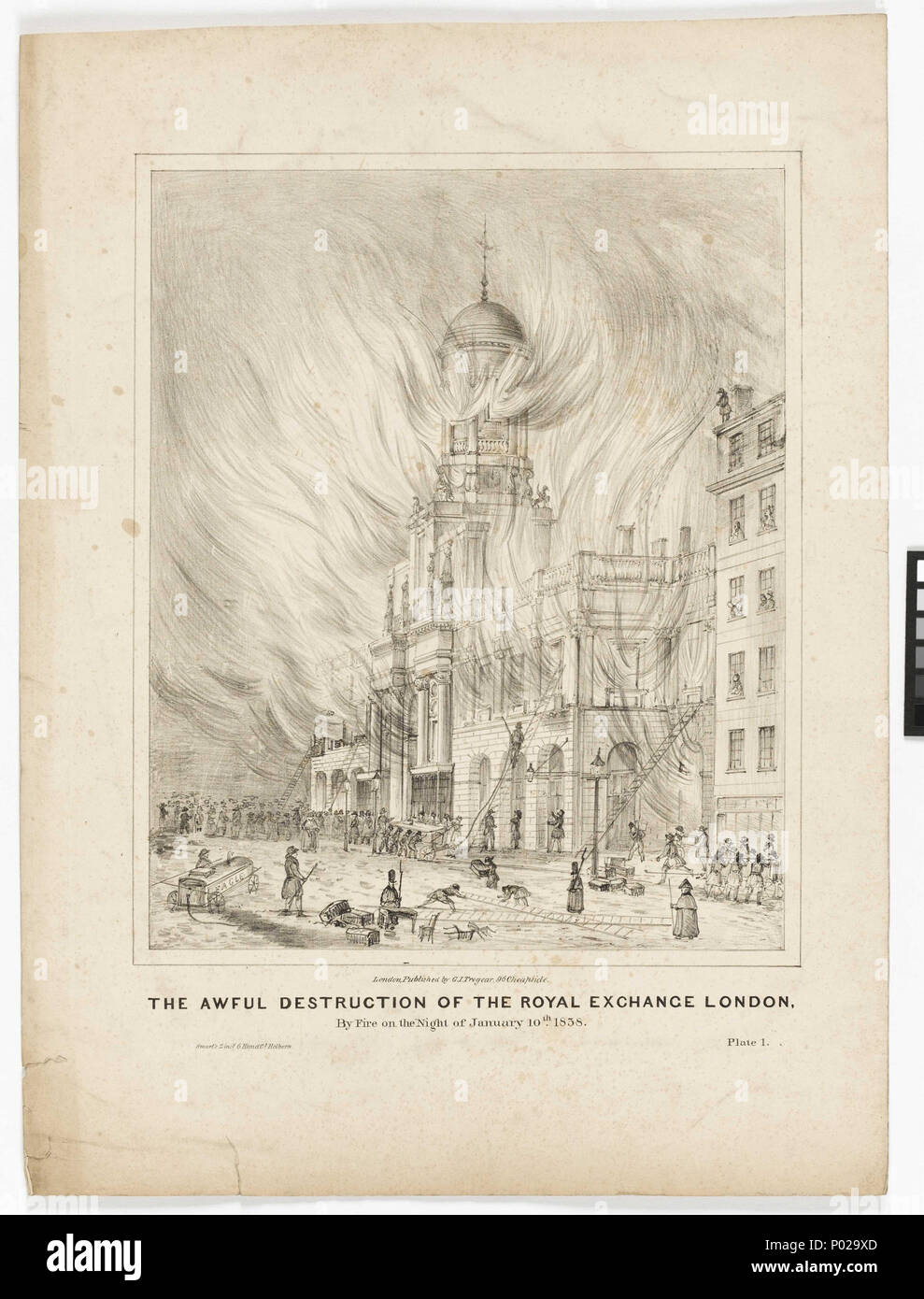.  English: 'The Awful Destruction of the Royal Exchange London By Fire on the Night of January 10th 1838' The Royal Exchange in Threadneedle Street in the City was established by Thomas Gresham in 1599 as a meeting place for merchants throughout Europe. It was intended as a rival to an equivalent meeting place in Antwerp called the Bourse. It became the Royal Exchange in 1571 under Elizabeth I. The Exchange had been destroyed once before by fire in the 1666 fire of London and rebuilt by City Surveyor Edward Jerman. In this second fire of 1838 the buildings were once again destroyed when a fir - Stock Image