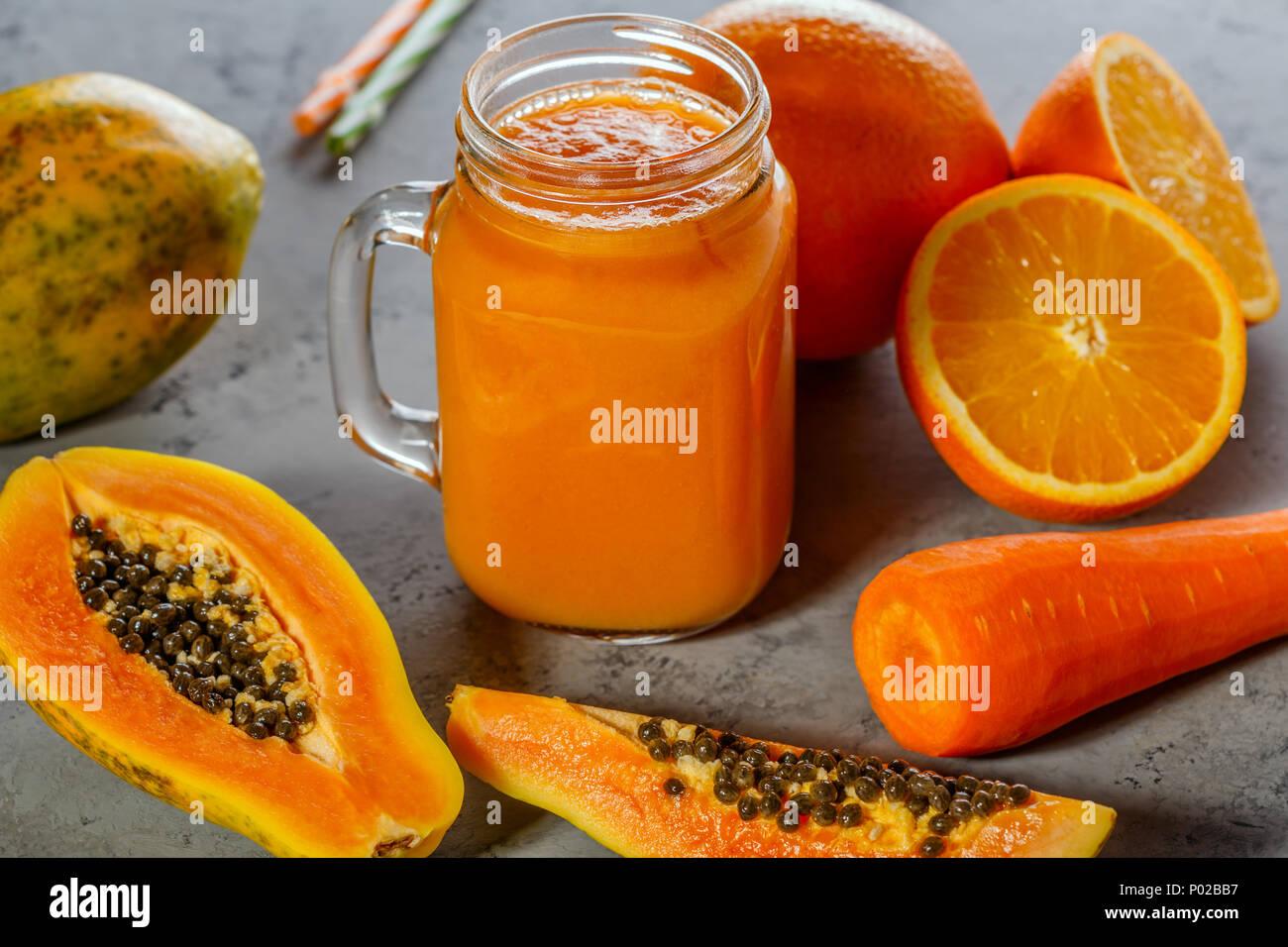 Papaya smoothie, selective focus  Detox, diet food, vegetarian food