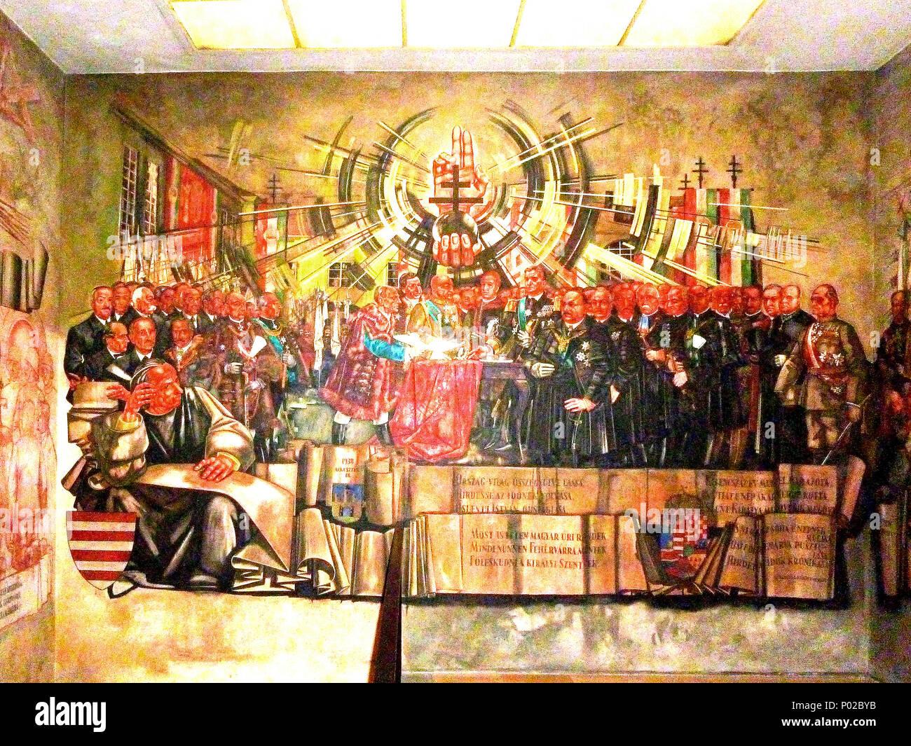 . Az Országgyűlés 1938. augusztus 18-án – Szent István halálának 900. évfordulóján – Székesfehérváron meghozott törvénnyel (1938. évi XXIV. törvény) emelte állami ünnep rangjára Szent István ünnepét. Az alkotás az ünnepi év eseményeit mutatja be.  . 1941 6 ABANOVAK 458 KT - Stock Image