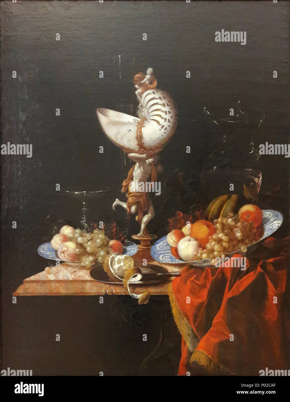 . Still life with a nautilus cup . third quarter of 17th century 17 Hinz Still life with a nautilus cup - Stock Image