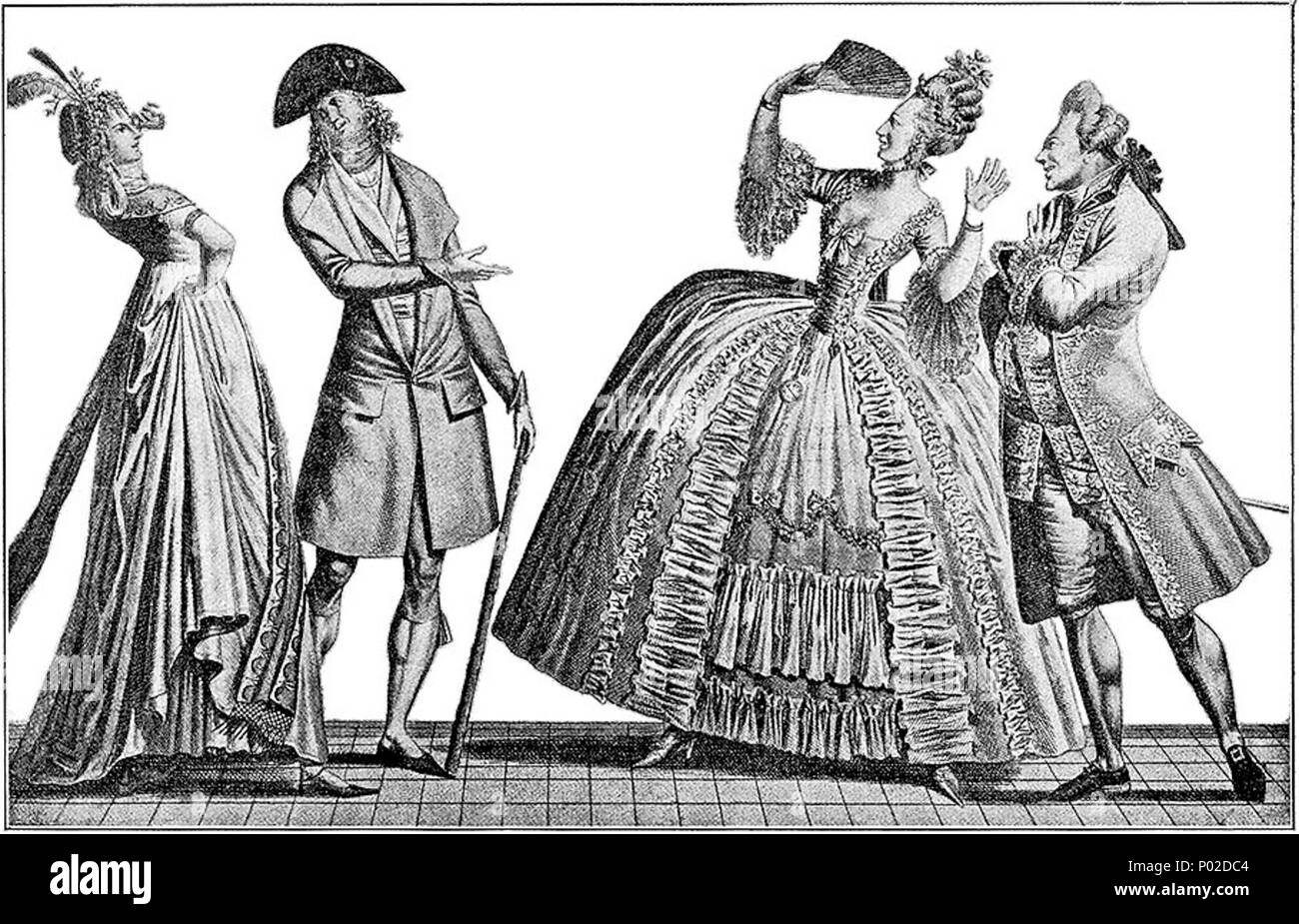 . A 1793 contrast between French fashions of 1793 and ca. 1778, showing the large style changes which had occurred in just 15 years. The couple on the left, dressed in bleeding-edge up-to-the moment styles of 1793, is saying 'AH! QUELLE ANTIQUITÉ!!!'; while the couple on the right, dressed in formal court styles of ca. 1778, is exclaiming 'OH! QUELLE FOLLIE QUE LA NOUVEAUTÉ.....' (For a contemporary 1778 color depiction of an outfit similar to what the woman on the right is wearing, see Image:1778-jeune-dame-de-qualite-en-grande-robe.jpg.) From Vernet's 'Incroyables et Merveilleuses' series, 1 - Stock Image