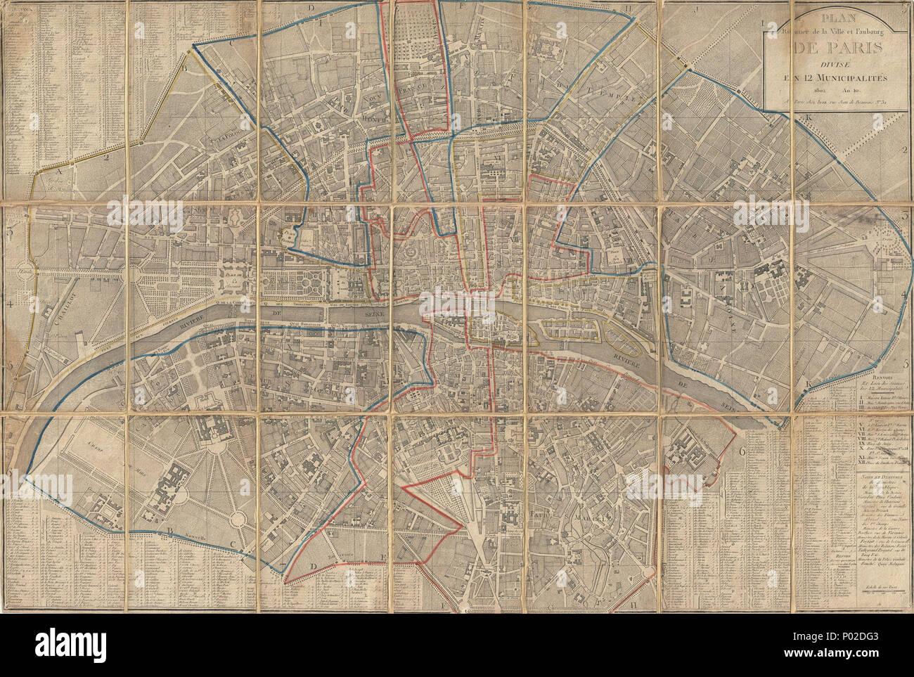 Map Of Paris 1800 Stock Photos & Map Of Paris 1800 Stock