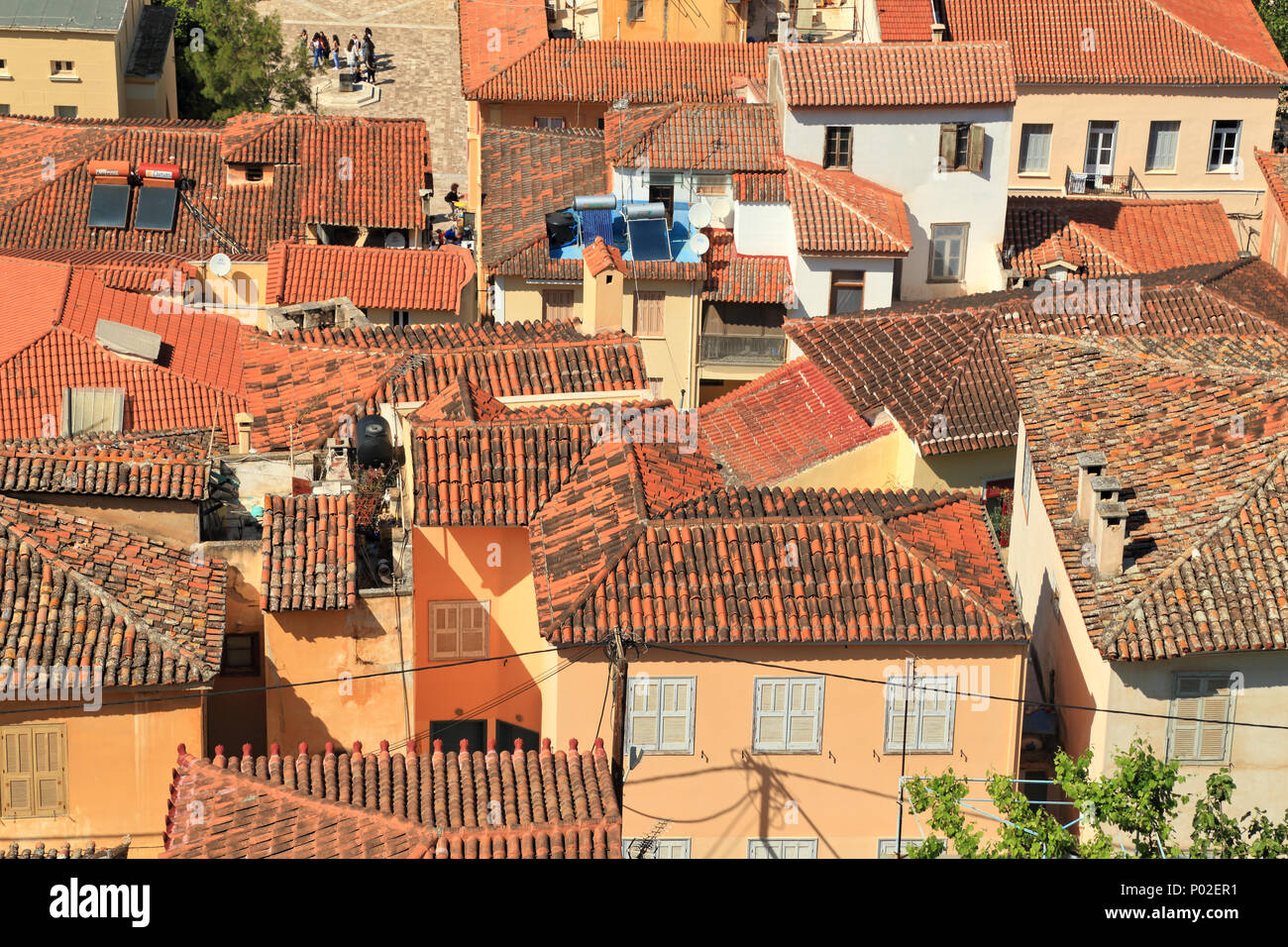 Top view, roofs of Nafplio - Stock Image
