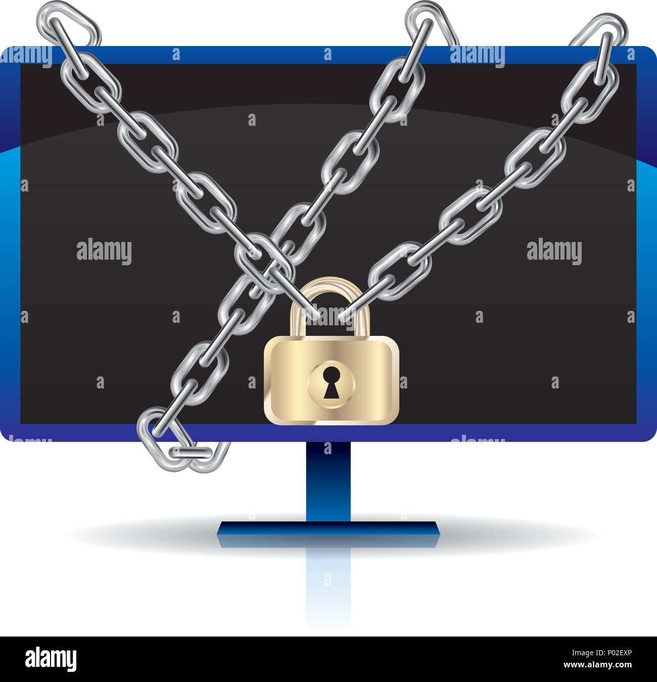 Computer monitor locked by a chain.Isolated on white background. Stock Vector