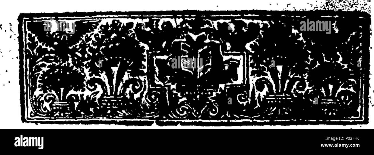 . English: Fleuron from book: A brief and true history of Sir Robert Walpole, and his family, from their original, to the present time. Shewing The First Settlement of this Family in England. The Donations of Sir John de Walpole, and Ralph de Walpole, Bishop of Norwich, &c. The Eminent Services of Sir Henry de Walpole to King Edward I. And of his Son to King Henry VI. Transactions of Thomas Walpole, Esq; in the Reigns of King Henry Vii and Viii. Last Will and Testament of John Walpole, Serjeant at Law, 1557. Robert Walpole, Esq; marries the Daughter of Sir Edward Barkham, Lord Mayor of London  - Stock Image