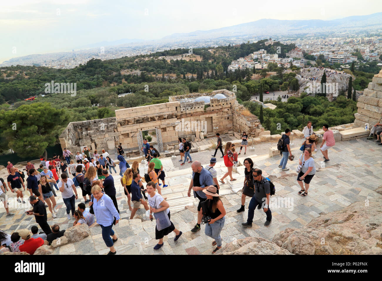 Tourists visiting Acropolis - Stock Image