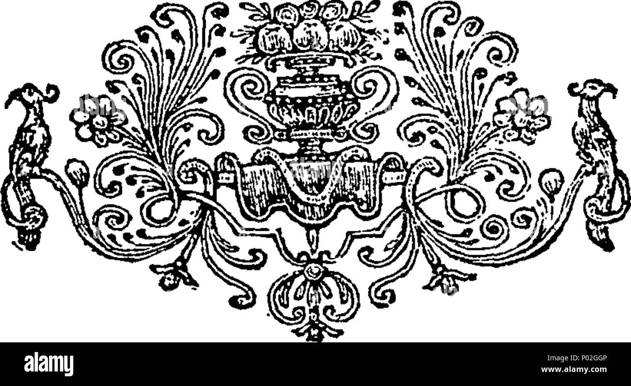 . English: Fleuron from book: A catalogue of all the genuine houshold furniture, &c. Of His Grace James Duke of Chandos, deceas'd, at his late seat call'd Cannons, near Edgware, in Middlesex, consisting of rich gold and silver tissue, brocade, velvet, damask, Chintz, and other beautiful Furniture, in Beds, Hangings, Window Curtains, Chairs and Settees. An exceeding fine Set of Tapestry, made at the Gobelins; Glasses of all Sorts, in the most magnificent Taste; several rare Pieces of Japan, in Cabinets, Chests, Screens, &c. Tables of Oriental Jasper, fine Italian Marble, &c. Gold, Needle-Work,  - Stock Image