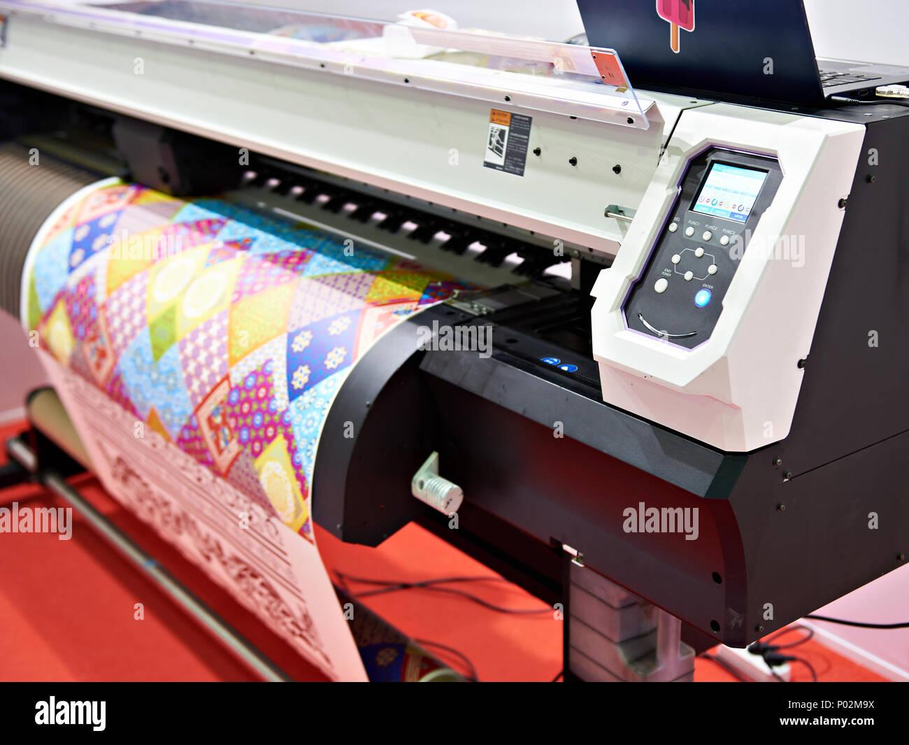 Big plotter printer with LED control panel - Stock Image