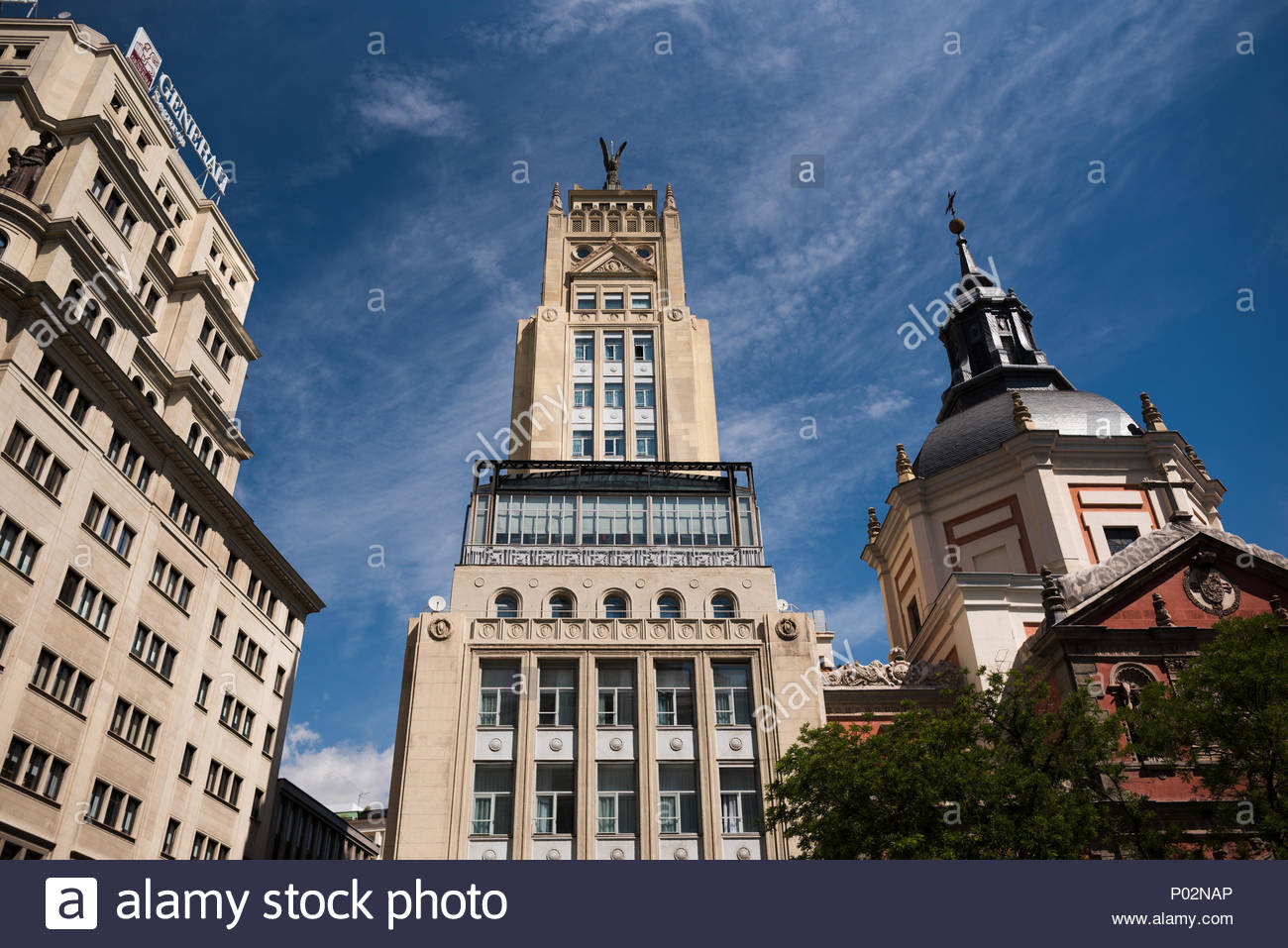 Buildings around Madrid. Spain. 12/06/2018. Differents types of architecture and examples of buildings on the city. - Stock Image