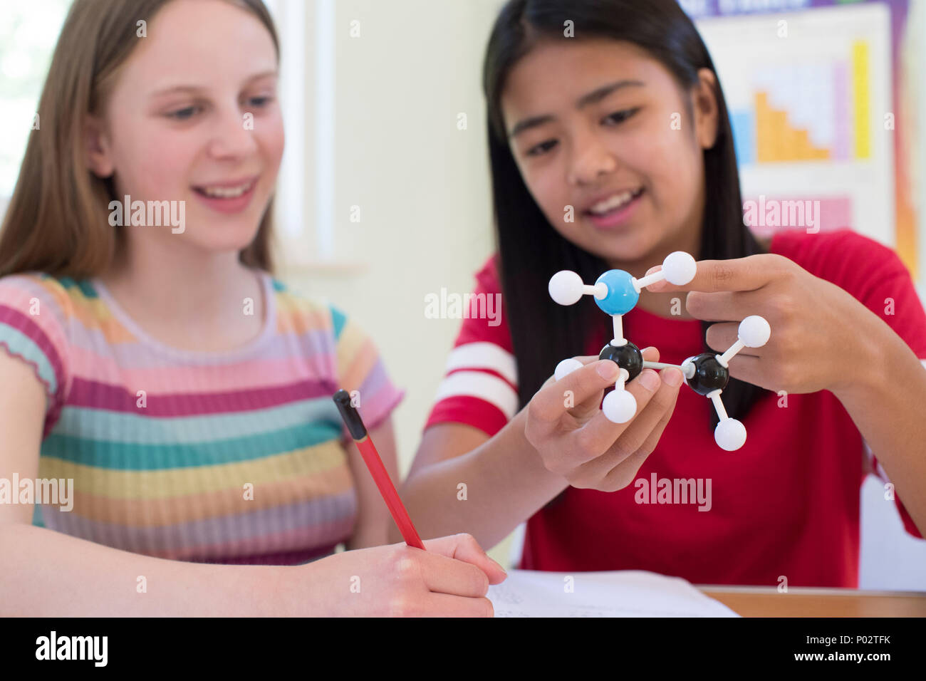 Two Female Pupils Using Molecular Model Kit In Science Lesson - Stock Image