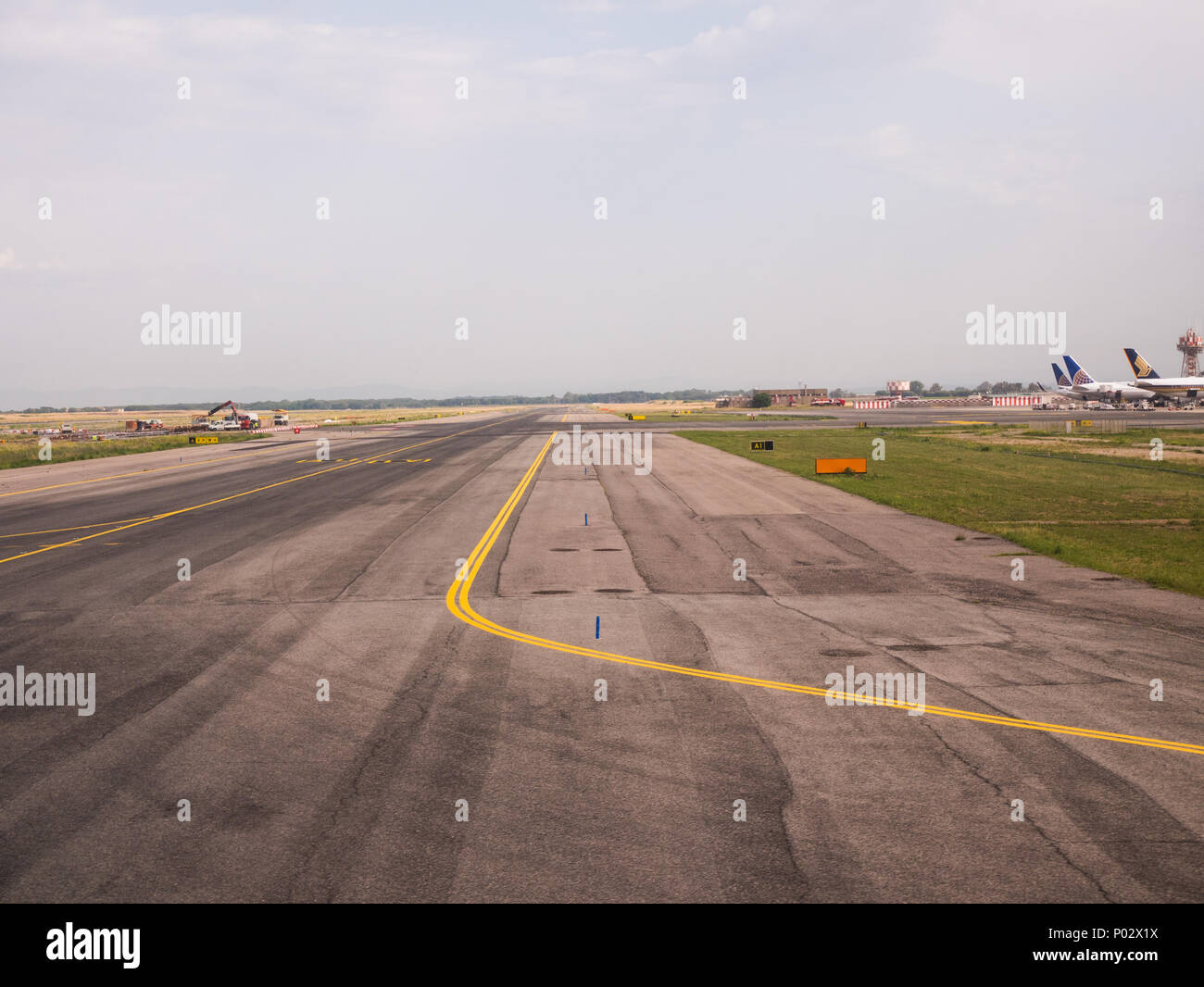 landing strip at the Rome Fiumicino airport - Stock Image