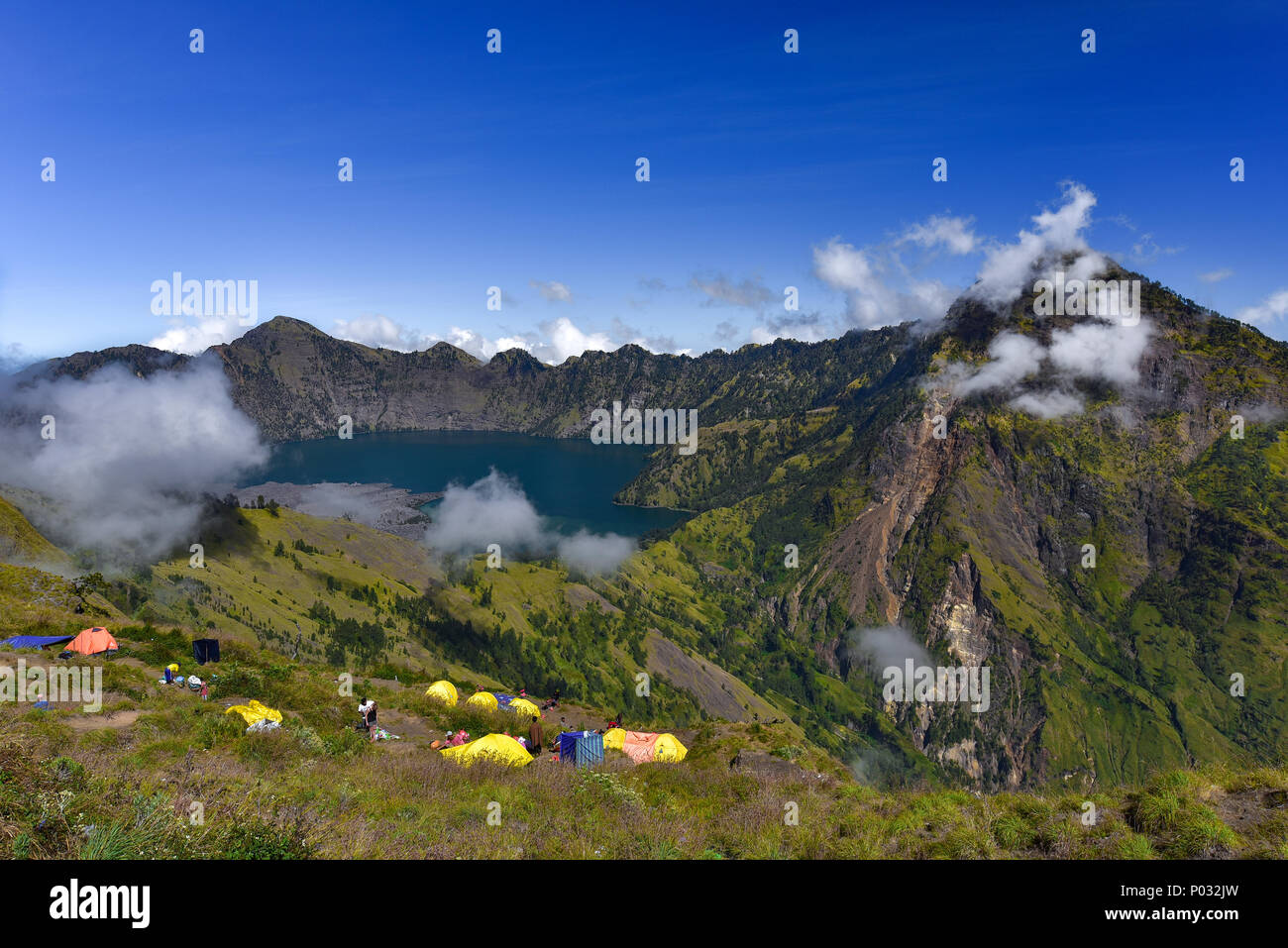 Crater Lake of Rinjani Volcano, Lombok - Stock Image
