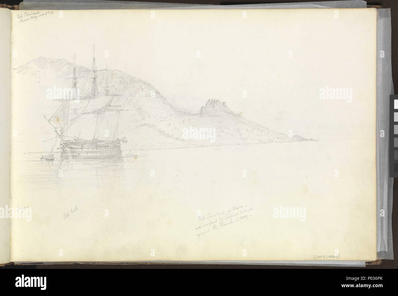 .  English: (Recto) HMS 'Ganges' off Fort Trinidad, Rosas Bay, south-eastern Spain, 9 October 1851; (Verso) Lord Nelson's House, Port Mahon, 12 November 1851 No. 12 of 36 (PAI0849 - PAI0884). (Recto) Inscribed top left, 'Fort Trinidad / Rosas Bay Oct 9th 1851' and along the bottom, 'Ganges', 'Capt Smith' and 'Fort Trinidad in Ruins - / once occupied by Sailors & Marines / against the French in 1809-'. The last note refers to Captain Lord Cochrane (then of of the 'Imperieuse' under Lord Collingwood), whose 12-day defence of the fort against overwhelming odds in fact took place in November 1808, Stock Photo